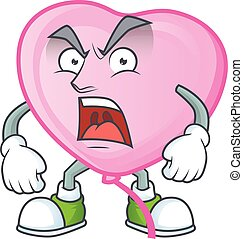angry face of pink love balloon cartoon character style