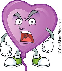 angry face of purple love balloon cartoon character style. Vector illustration