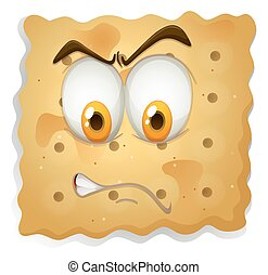 Angry face on cookie
