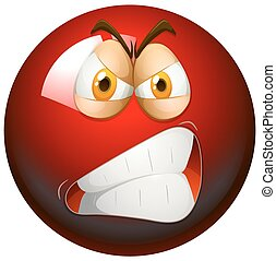Angry face on red ball