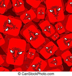 Angry face red pattern seamless. Evil emotion background. ...