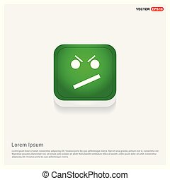 Angry face smile icon Green Web Button