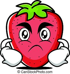 Angry face strawberry cartoon character