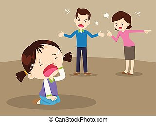 angry family quarreling with crying girl