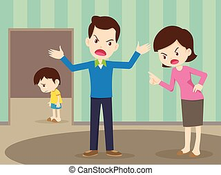 angry family quarreling with sad child