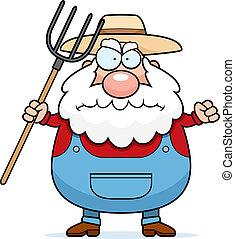 Angry Farmer - A cartoon farmer with an angry expression.