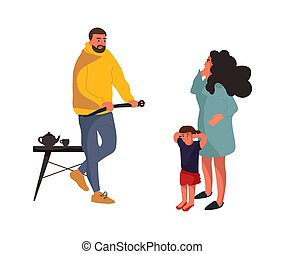 Angry father. Frightened mother and baby. Family conflict vector cartoon concept