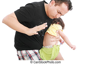 Angry father hitting her little baby daughter