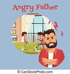 Angry Father Look After Playing Children Banner
