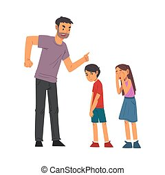 Angry Father Scolding His Naughty Son and Daughter, Relationships Between Kids and Parents Vector Illustration