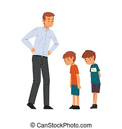 Angry Father Scolding His Naughty Sons, Relationships Between Kids and Parent Vector Illustration