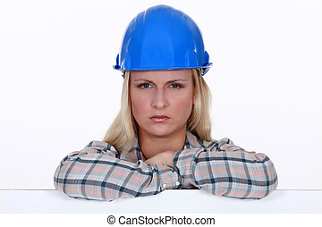 Angry female construction worker
