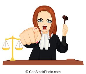 Angry Female Judge Pointing Finger - Angry female judge in...