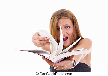 angry female student flipping a book