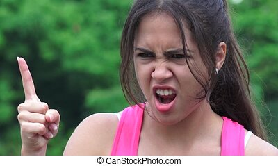Angry Female Teen Pointing