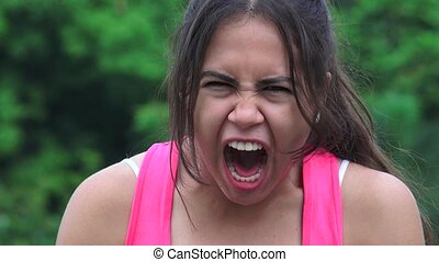 Angry Female Teen Yelling