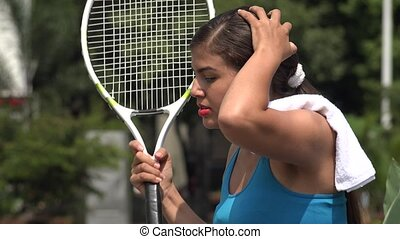 Angry Female Tennis Player Over Loss