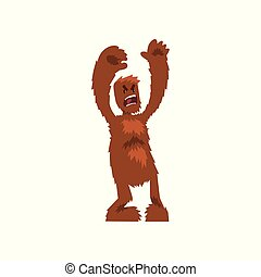 Angry ferocious bigfoot mythical creature cartoon character vector Illustration on a white background