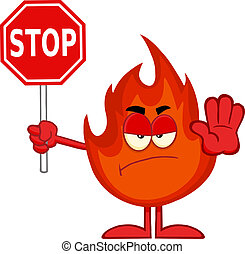 Angry Fire Holding A Stop Sign