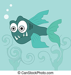 angry fish - an angry blue fish in the ocean with big eyes