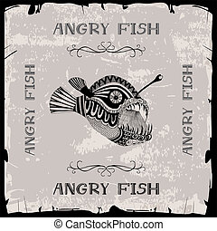 Angry fish illustration