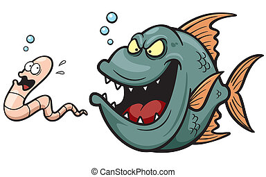 Angry fish - Vector illustration of Angry fish hungry...