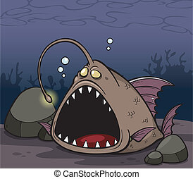 Angry fish - Vector illustration of angry fish cartoon