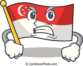 Angry flag singapore isolated with the character vector illustration