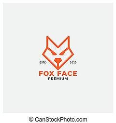angry fox face head logo design line style