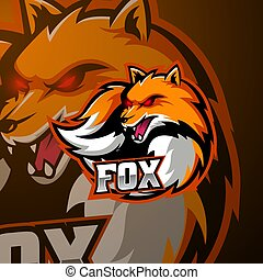 Angry fox mascot logo design
