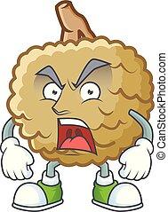 Angry fresh marolo fruit character mascot in cartoon