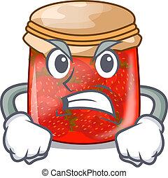 Angry fresh tasty strawberry jam on mascot vector...