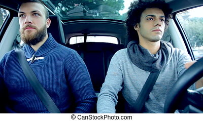 Angry friends not talking in car