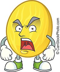 Angry fruit melon cartoon character with mascot