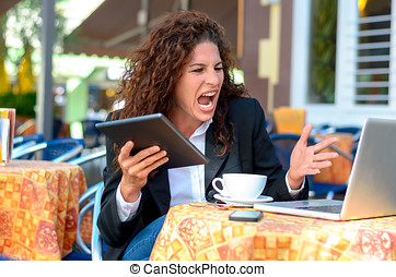 Angry frustrated young businesswoman