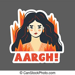 Angry furious woman with fluttering hair on fire exclaims aargh. Stressed irritated girl. Vector hand-drawn illustration.