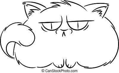 Angry furry cartoon cat. Cute grumpy cat for prints, design,...