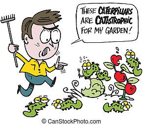 Angry gardener cartoon