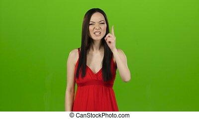 angry., gens, écran, vert, fille asiatique, indigné, elle