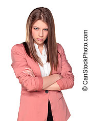 Angry girl - Angry and cute young girl posing with crossed ...