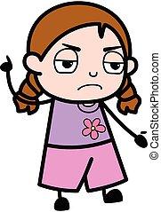 Angry Girl Cartoon with one hand raised
