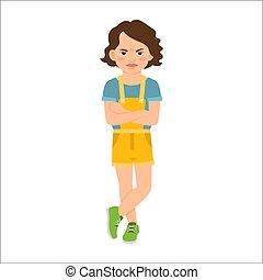 Angry girl in blue shirt isolated vector illustration on...