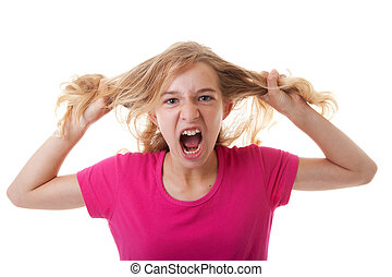 Angry girl is pulling her hair