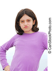Angry girl - Portrait of a young preteen girl with attitude