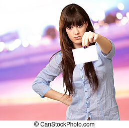 Angry Girl Showing Blank Card