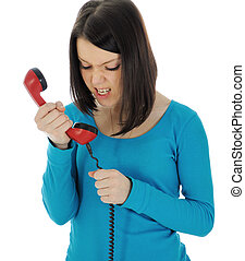 Angry Girl. - The angry girl with a red handset. Isolated on...