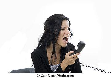 Angry girl yelling - Portrait of angry young girl yelling on...