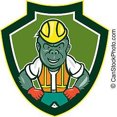 Angry Gorilla Construction Worker Shield Cartoon -...