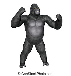 Angry gorilla fighting - 3D render - Angry gorilla fighting...