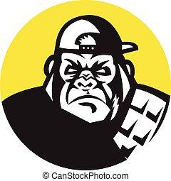 Angry Gorilla Head Baseball Cap Circle Retro - Illustration...